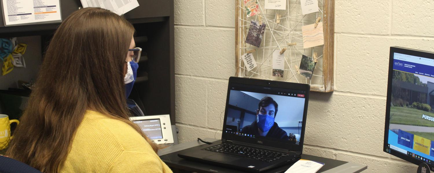 Admissions counselor during virtual appointment