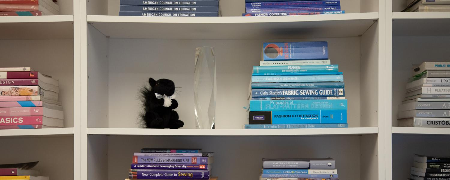 Kent State black squirrel in office library