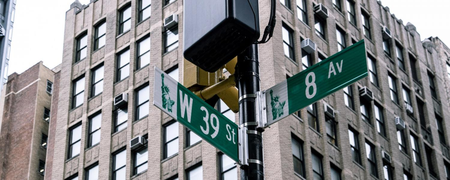Corner of West 39th Street and 8th Avenue in Manhattan