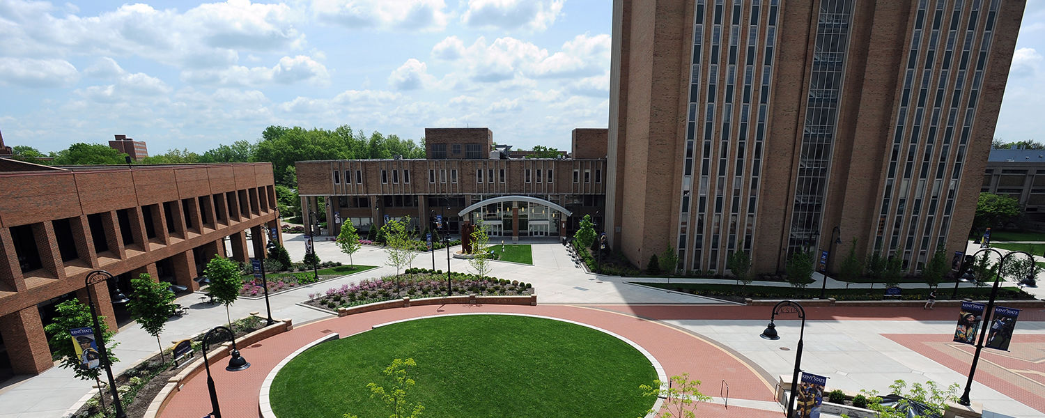 Risman Plaza, close in proximity to the Student Center and University Library, is a popular hangout spot.