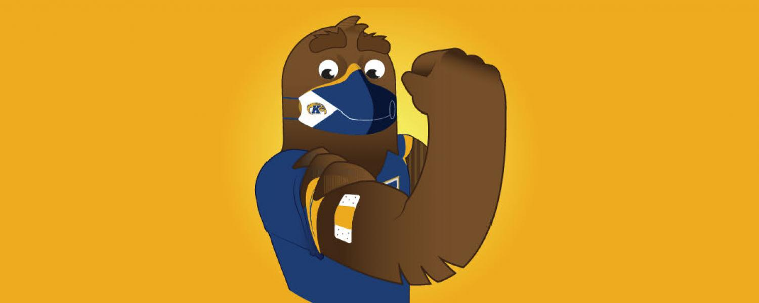 Golden Eagle Flash cartoon showing arm vaccinated with bandage