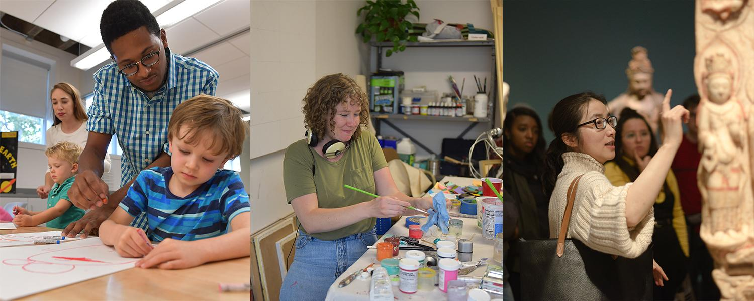 Three photos of graduate students in art education, studio art and art history.