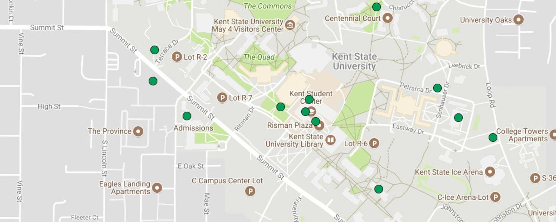 Map of Local Green Dots | Green Dot | Kent State University Dot Map on