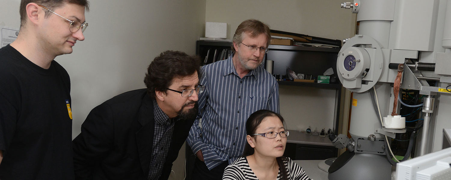 Professors Oleg Lavrentovich and Antal Jakli with CPIP students