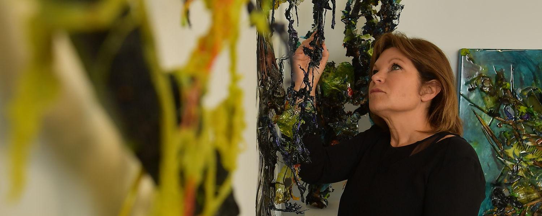 Graduate Student, Lori Catanzarite in her studio