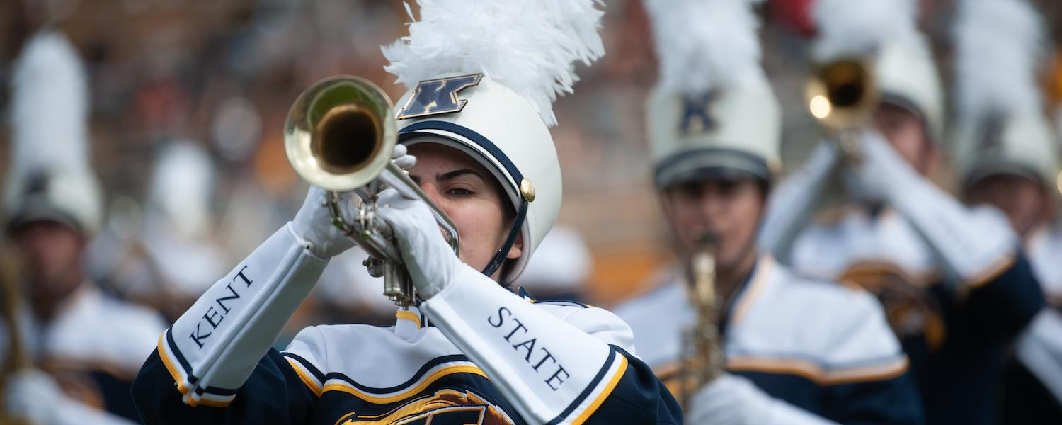 Members of the Marching Golden Flashes Performing