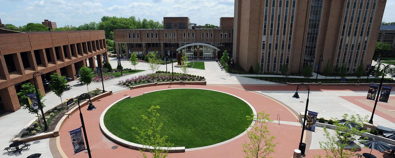 Risman Plaza, close in proximity to the Kent Student Center and University Library, is a popular hangout spot.