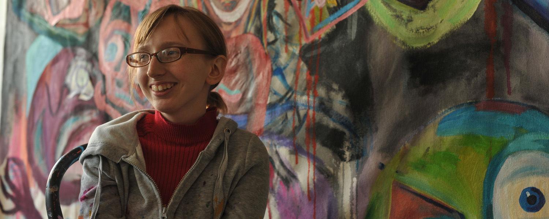 Graduate Painting student in her studio