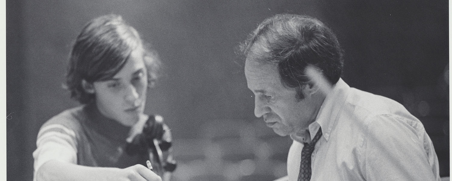 Pierre Boulez leading an orchestra rehearsal with Kent Blossom Music Festival students in Ludwig Recital Hall