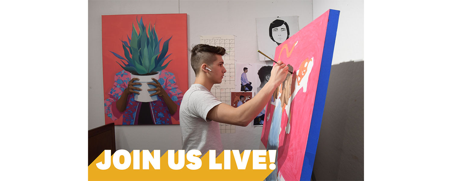 Student painting in his studio, text reads Join Us Live at the bottom of the image