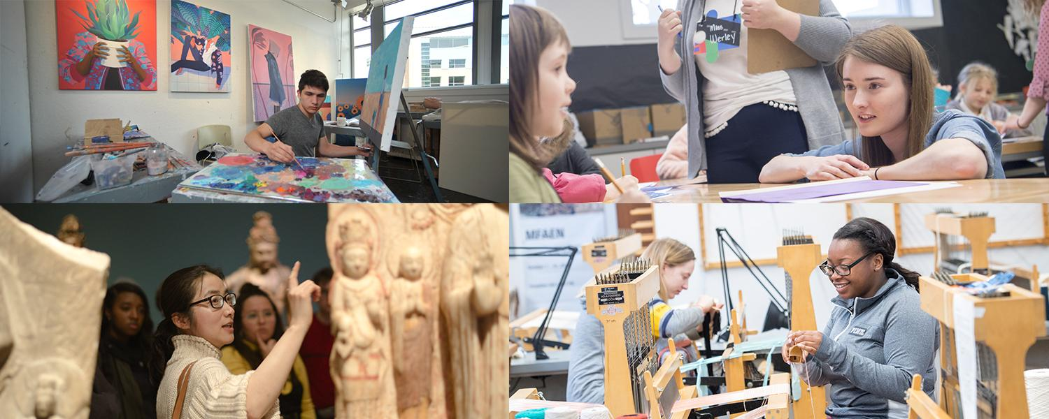 Four pictures of students in the School of Art in painting, a professor teaching at a museum, students in art education teaching children and a student using the loom to weave