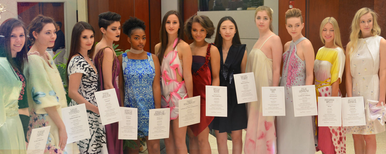 students modeling Fashion Meets the Botanicals garments at the CBG Fashion Show