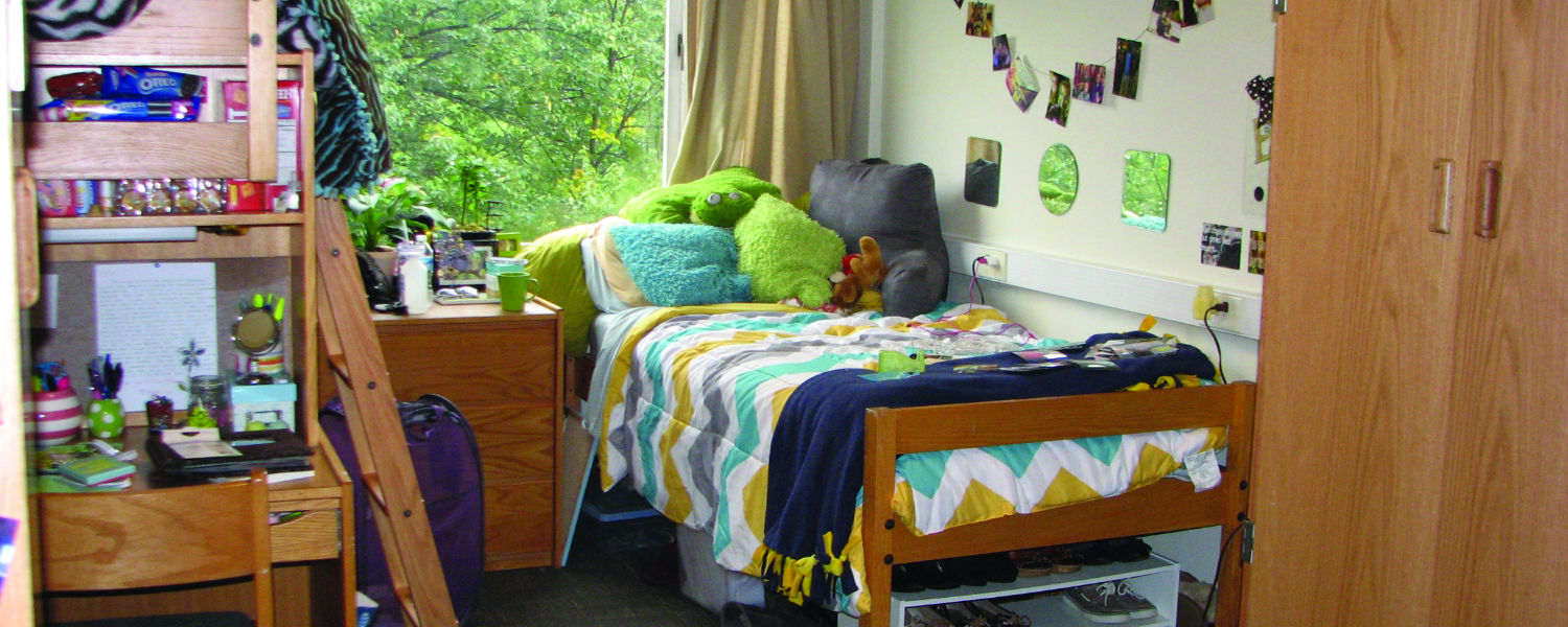 The inside of a dorm room with bunked beds and a window looking out to trees