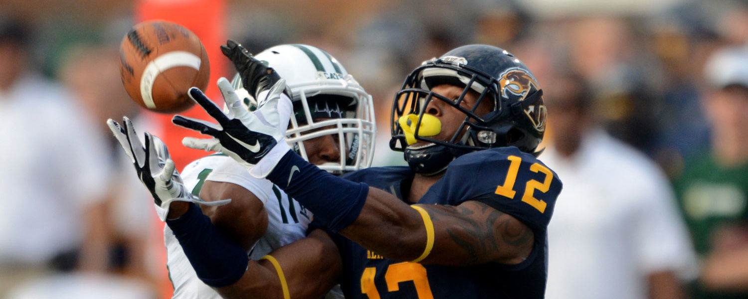 Kent State wide receiver James Brooks catches a pass during the 2014 home opener at Dix Stadium.
