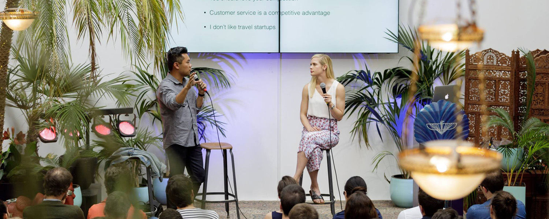 Alumna Brianne Kimmel, '11, hosts a fireside chat at The Family, an entrepreneurship community in Paris, France.