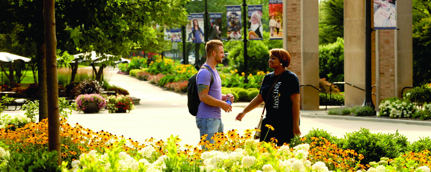 Students talk as they walk through the garden next to the student center and library