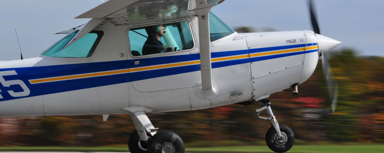 A KSU Aeronautics Cessna 152 landing at the Kent State University Airport.
