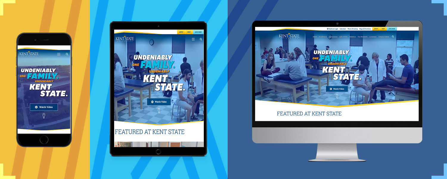 Kent State website on mobile devices and a desktop computer