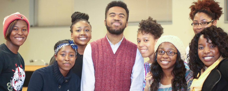 Joshua Benett and students