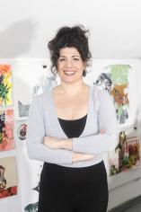 Photo of Corrie Slawson in her studio
