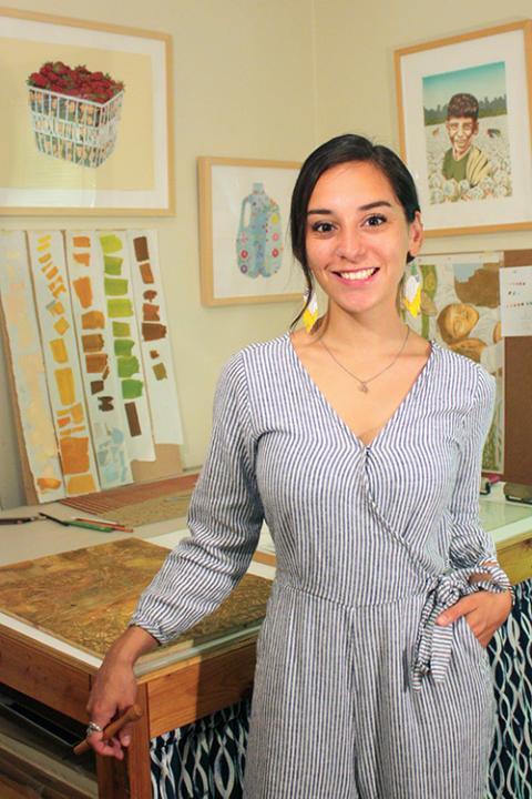 Artist J. Leigh Garcia in her studio