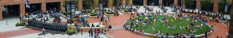 Students gathered at Risman Plaza