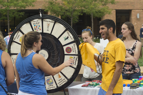 Students learn more about student organizations during the Welcome Weekend Back to School Blastoff held at the track behind the Deweese Health Center.