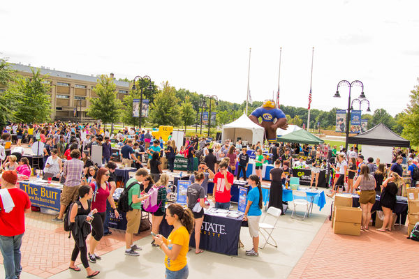 Students fill the Student Green during the Black Squirrel Festival. Food, games, vendors and bands entertain the students at the start of the semester.