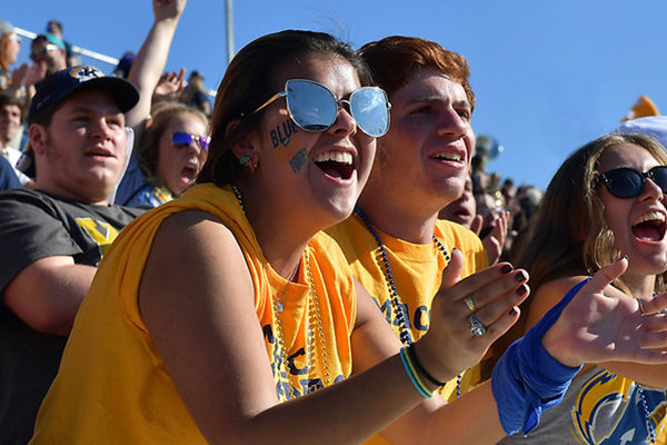 Student section at a home Kent State Football Game at Dix Stadium