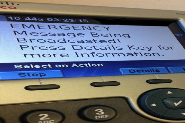 Emergency Management: Image of message that will appear on Kent State phones during an emergency broadcast.