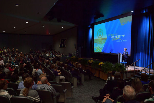 President Beverly Warren presents the State of the University Address 2017 in the KIVA on Oct. 17, 2017.