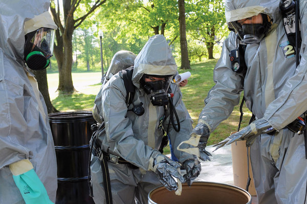 Public health students participate in a disaster preparedness exercise on campus as part of their training.