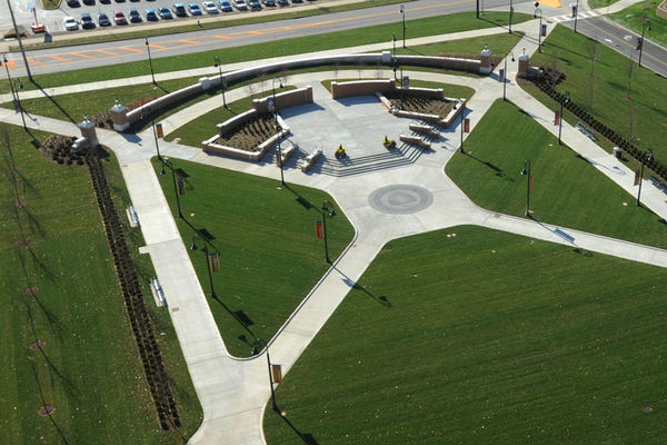 An aerial view of Risman Plaza.
