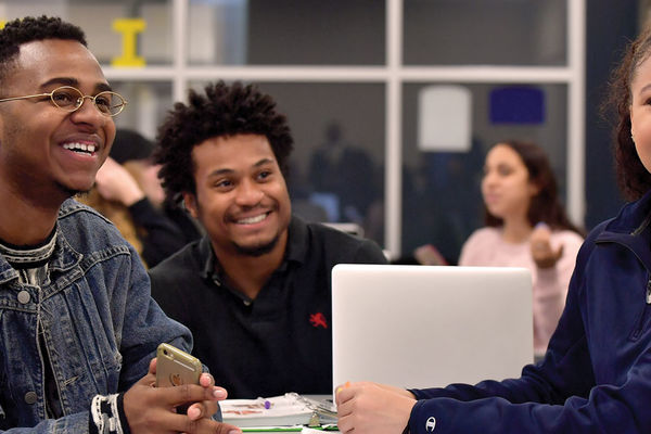 Banner image of three students in a study group