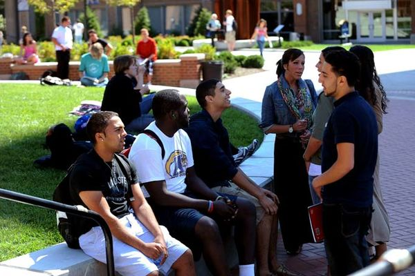 Students outside student center