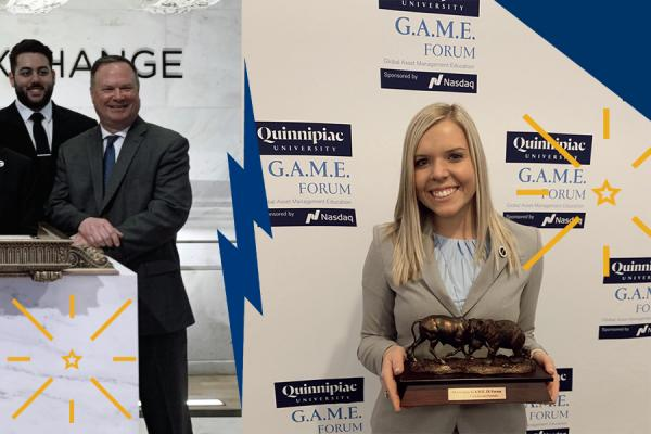 GFAM at the New York Stock Exchange and Ritts poses with her team's first place trophy at the Quinnipiac G.A.M.E Forum.