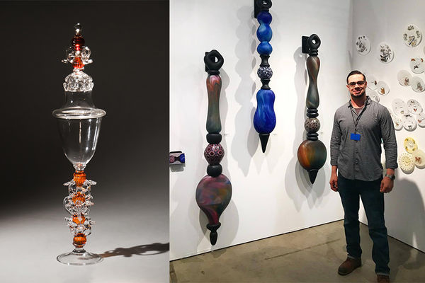 Dan Alexander in front of his glass artwork, images of glass art by Dan, a blue vase and a tall cup with lid