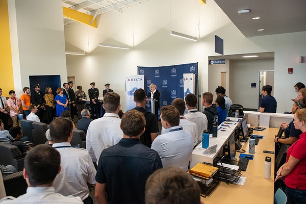 Melody Tankersley, interim senior vice president and provost, thanks Delta Air Lines for selecting Kent State for the Delta Propel program.