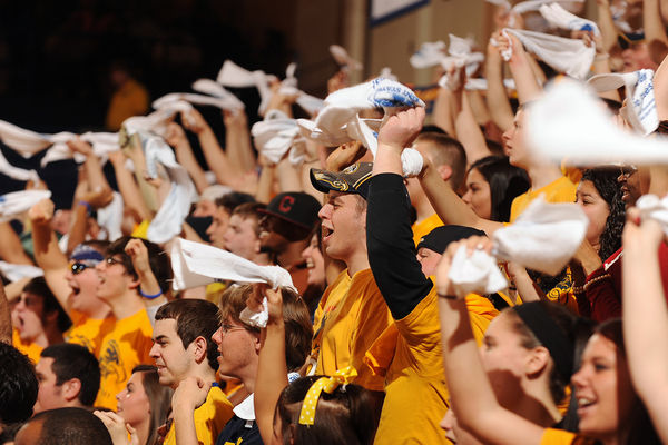 Kent State fans in the student section of the Memorial Athletic and Convocation Center cheer on the team during a home win.