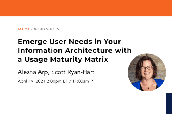 Banner image promoting the workshop entitled Emerge User Needs in your Information Architecture with a Usage Maturity Matrix