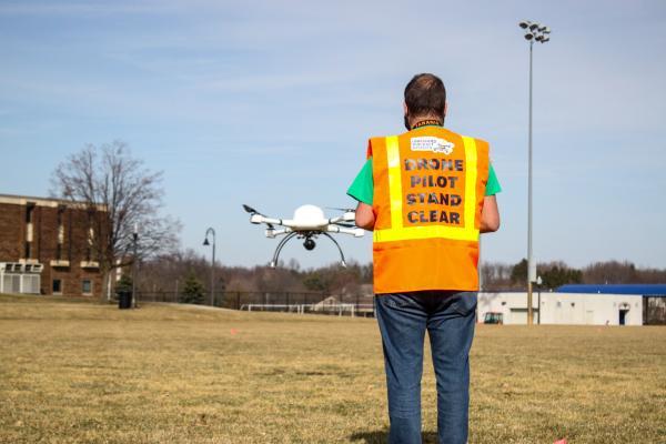 Student pilot operating UAV