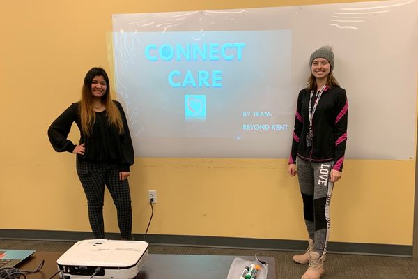 Two students presenting