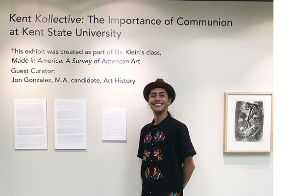 Jonathan Gonzalez with his exhibition at Michener Gallery