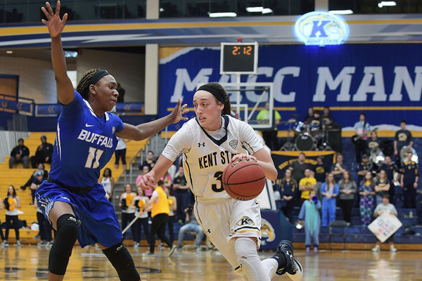 Larissa Lurken, 2017 Player of the Year,  drives past a Buffalo defender during the season finale and a Kent State 80-71 win in the MAC Center.