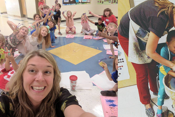 Natalie Friedl in the classroom, recipient of the NCAEA Elementary Art Educator of the Year
