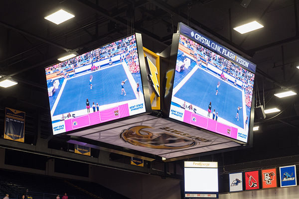 New MAC Center 4-panel, center-hung scoreboard