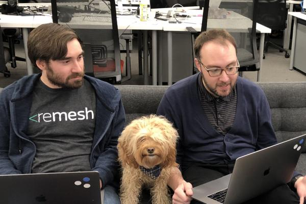 The Remesh team in its office during a presidential primary debate in 2020