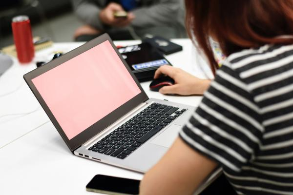 A student uses a computer.