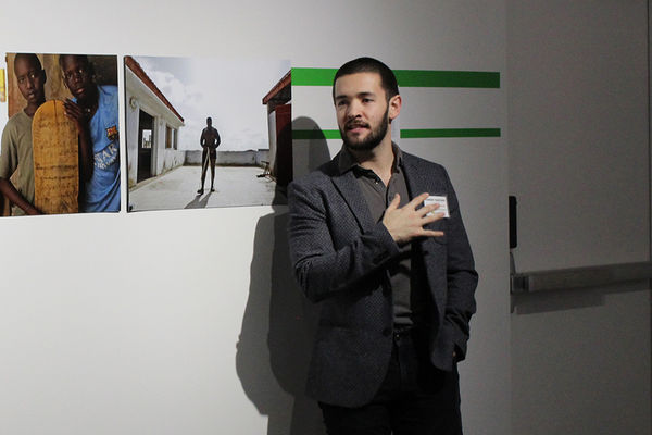 """Joseph Underwood giving a gallery talk during his curated exhibition """"The View From Here"""""""