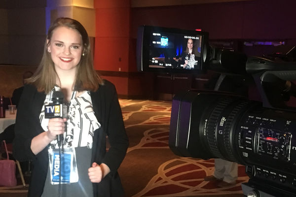 Senior Journalism Major Anna Huntsman reports for TV2 news